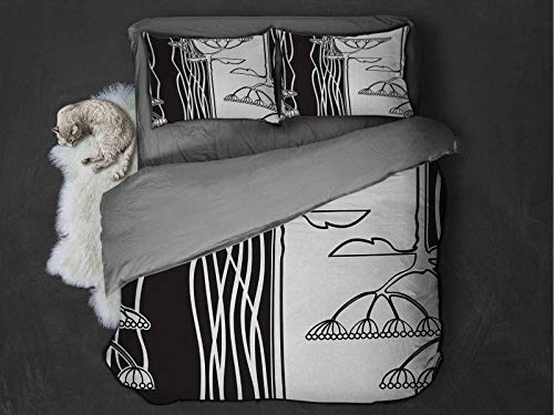Toopeek Black and White Quilt cover 3-piece set Abstract Fennel Plants with Seeds Monochrome Garden Condiment Ornament Super soft and easy to maintain (King) Black White