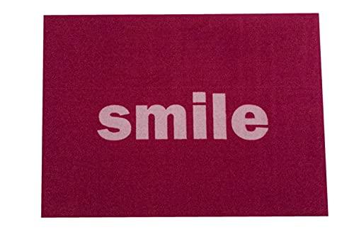 Felpudo ecológico 50 x 70 cm   Felpudo de entrada lavable resistente a la suciedad   Felpudo antideslizante para puerta de casa, pasillo, entrada, cocina, dormitorio (Smile)