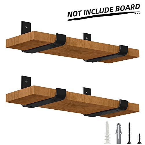 LuckIn 4-Pack 8 Inch Sturdy Metal Lip Bracket for DIY Floating Shelf, Perfect Fit Standard Board Sold by Homedepot, Come with Wall Mounting Hardware for Various Surfaces