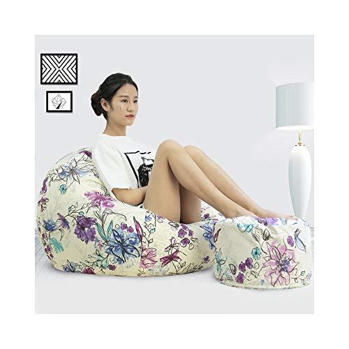 TAO Multi-Color Lazy Sofa Tatami Sacchetto di Fagioli Singolo Cotone Sedile Camera da Letto Soggiorno Moda Wild Back Divano Rimovibile e Lavabile (Color : Iris, Size : XL)