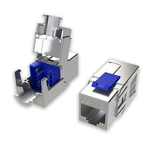 LINKUP - [Certificado GHMT y DSX8000] Conector de Cable Ethernet Cat8 (Paquete de 2) Conector RJ45 Keystone┃para 2000Mhz 2Ghz 40G Cable de LAN Solido y Dobladamente Blindado 22AWG-24AWG