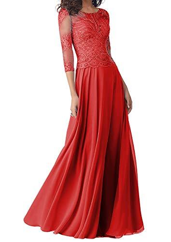 Abendkleider Lang Brautmutterkleider Langarm Spitze Hochzeitskleid Ballkleider A-Linie Chiffon Festkleider Rot 38