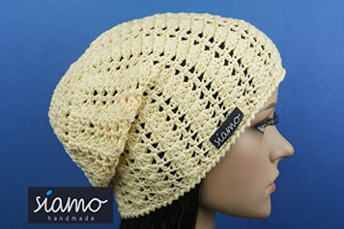 Sommer-Beanie SAVONA pastell-gelb Baumwolle Sommer-Mütze von siamo-handmade