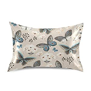 Naivey Satin Pillowcase for Hair and Skin Flower Butterfly Summer Silk Pillowcase No Zipper Slip Pillowcase Silk Standard Size Pillow Cases Pillowcases 20x26in
