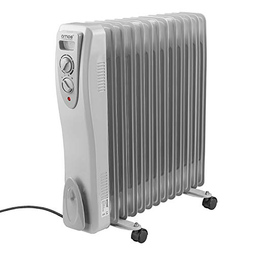 AMOS 13-Fin 3000W Oil Filled Radiator 3 Heat Settings with Adjustable Temperature Thermostat Home Office Heater