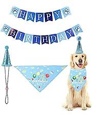 Decoracion Cumpleaños para Perros,Triángulo de Pañuelo de Cumpleaños para Perros,Set de Cumpleaños para Mascotas,Bufanda de Pañuelo Triangular para Fiesta Conjunto y Decoración de Cumpleaños(Azul)