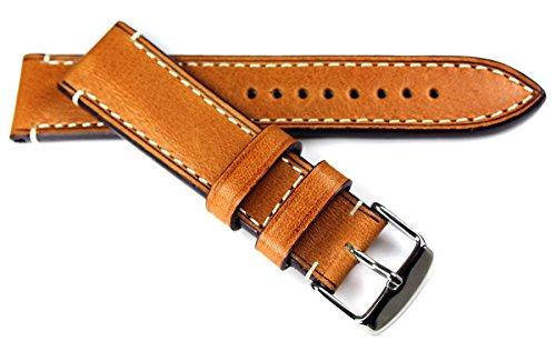 RIOS 1931 - Correa de reloj para hombre (piel de becerro, 22 mm, cosida), color marrón claro