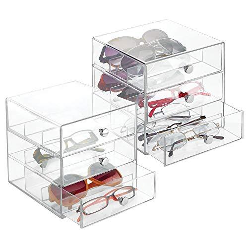 mDesign 2er-Set Brillengarage mit je 3 Schubladen - Schubladen Organizer für Weitsicht-, Lese- oder Sonnenbrillen - Brillenaufbewahrung aus Kunststoff mit cleveren Unterteilungen - transparent