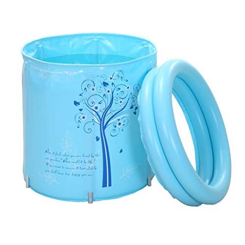 WJSW Babybadewanne,Faltbare Kunststoff-Badewannenhalterung, gesteppt, gepolstert, für Erwachsene, Badetonne, strapazierfähiger Schmutz/höhenverstellbar/einfach zu Falten, blau, pink (70 * 70 cm)