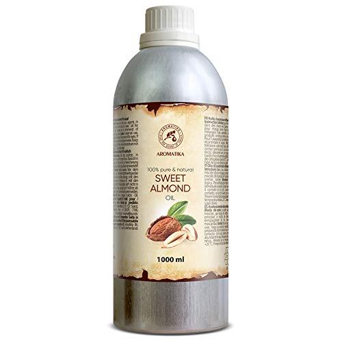 Olio di mandorle dolci 1000ml - 1 litro - Olio di Prunus Amygdalus Dulcis - Italia - Best Care Oil per la pelle - Capelli - Corpo - Massaggio - Cura personale con oli di mandorle