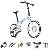 SYLTL Folding Bike Unisex Rueda de Aleación de Aluminio Bicicleta Plegable Velocidad Variable 20 Pulgadas Folding Bicicleta Adecuado para Altura 140-185 cm,Whiteblue