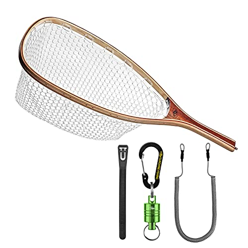 SF Fly Fishing Landing Soft Rubber Mesh Trout Catch and Release Net with Green Magnetic Net Release Cable Zip Ties Combo Kit (Clear A Combo Small Holes)