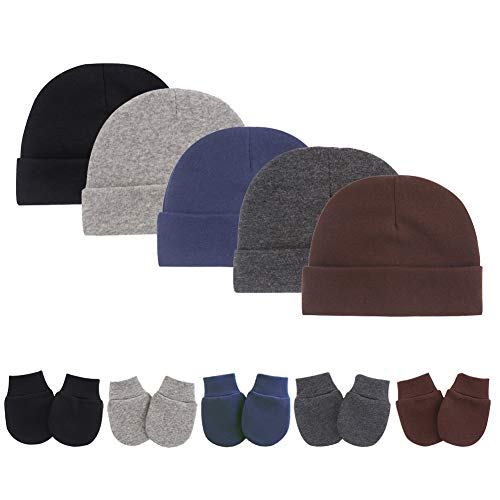 Newborn Infant Baby Boys Hat Mittens Set Cotton Gloves Beanie Skull Caps Hats for Baby 0-10 Months 10-Piece (5 Color Set (Black, Dark Grey, Brown, Grey, Dark Blue))