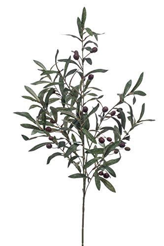 PARC Network Künstlicher Olivenzweig, auf Steckstab, mit Früchten, 100 cm - kunstzweig olivenbaum - deko Zweig olivenbaum - Plastik olivenzweig