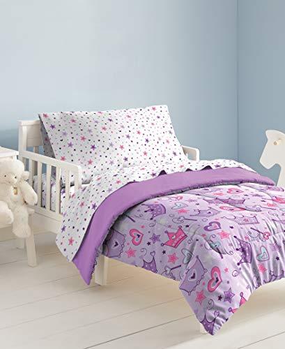 dream FACTORY Stars & Crowns 4-Piece Bedding Set, Multi, Toddler, Multicolor