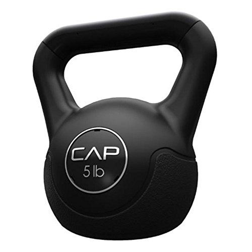 Cap Barbell Workouts Vinyl Kettlebell, Black, 5 lb