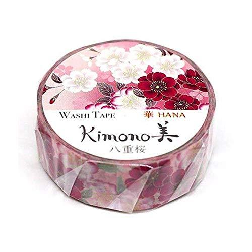 Kamiiso Kimono Washi Masking Tape (15mm) - Double Cherry Blossoms - for Scrapbooking DIY Art Craft