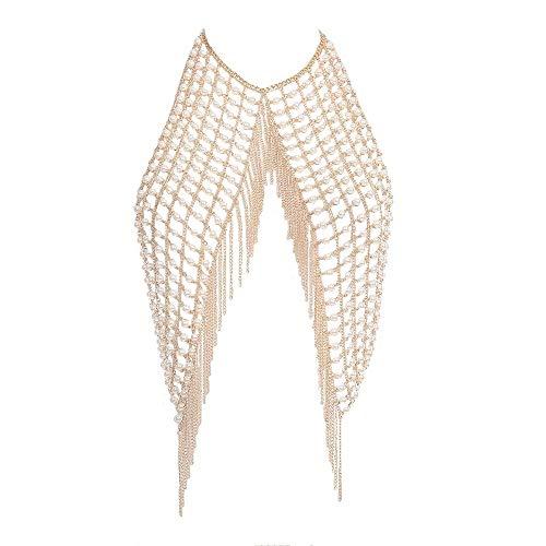 LXDDJXL - Collar Largo de Mujer con Cadena de Perlas y borlas para Mujer, Bikini Sexy, Bikini para Mujer, bañador, Sujetador, Cadenas, Accesorios de Verano para Playa, Fiesta, Piscina, Bar