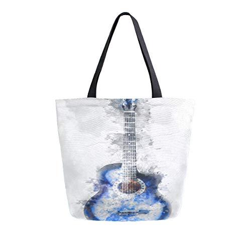 AHYLCL abstrakte Aquarell-Gitarren-Tragetasche, Segeltuch, Umhängetasche, wiederverwendbar, groß, Mehrzweck-Handtasche, für Arbeit, Schule, Einkaufen, Outdoor