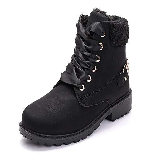 Los Botines de La Nieve de Las Mujeres Clásicas del Invierno, Las Señoras Calientan Las Zapatillas de Deporte Planas Al Aire Libre (Color : Negro, Shoe Size : JP 23.5cm/EU 36/US 6.5/UK 4.5)