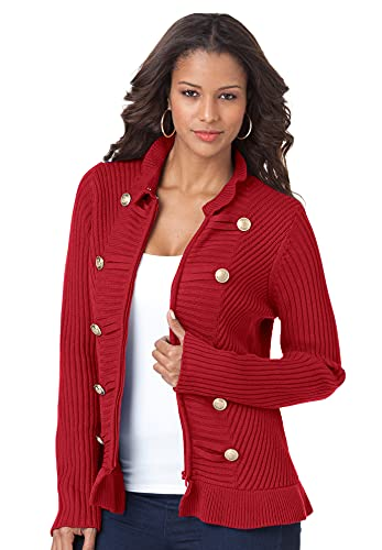 Roamans Women's Plus Size Military Cardigan Sweater - 2X, Classic Red