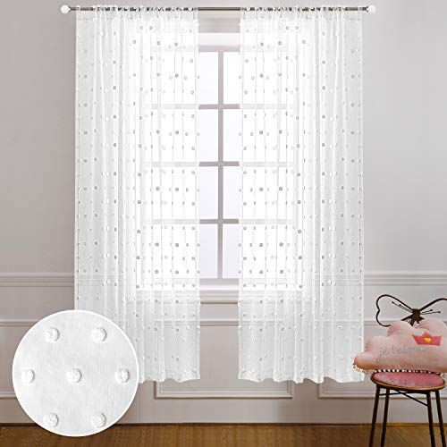 White Bedroom Curtains 63 Inch Length 2 Panel Rod Pocket Shabby Chic Country Farmhouse Cozy Pom Pom Dot Textured Window Semi Sheer Short Boho Curtains for Nursery Kitchen Therapy Room Decor 52x63 Long