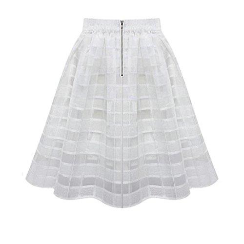 jupe femmes, Toamen Jupe en mousseline de soie Taille haute Zipper Tulle Jupe (XL, Blanc)