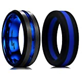 King Will Mens Tungsten Silicone Wedding Band Set Blue & Black Classic Style Replaceable and Comfort Fit 10.5