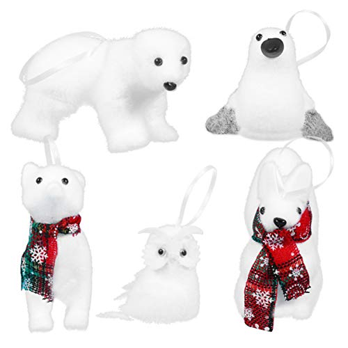 TOYANDONA 5pcs Christmas Plush Ornaments with Bear Fox Owl Squirrel Penguin Design Christmas Tree Decoration Hanging Decoration for Window Door Christmas Party