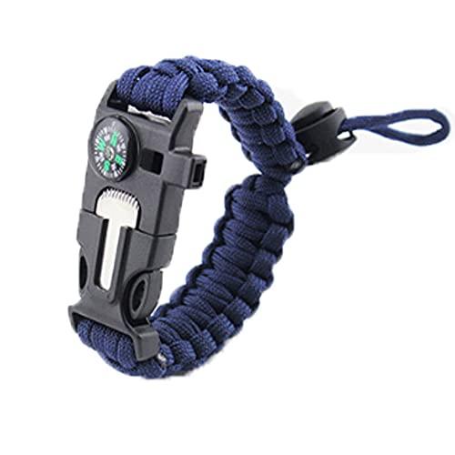 kjhgkj Cuerda de Paraguas Ajustable Pulsera de Supervivencia Kit de Equipo táctico de Emergencia con Silbato de Rescate Brújula Grande Caña de magnesio [Azul Marino]