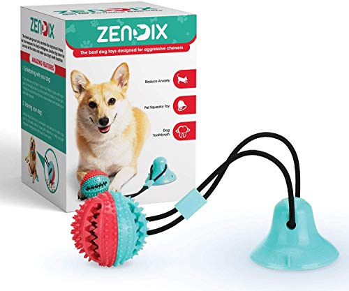 ZENDIX Dog Chew Toy – Dog Puzzle Treat Food Dispensing Ball Toys – Fixed Chew Toys for Aggressive Chewers – Chew Toys for Puppies and Large Dogs – Teeth Cleaning Toy for Dogs