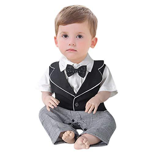 Julhold Infant Baby Boys schattige mode korte mouwen Gentleman katoen strampler solide print overall zomer 2019 nieuw 0-2 jaar