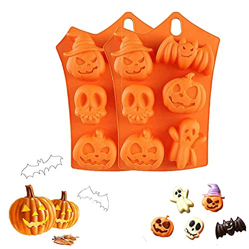 2 Pack Halloween Silicone Baking Molds,Nonstick Silicone Cake Molds,Nonstick Cake Pan Muffin Mold with Pumpkin Chocolate Cupcakes Bat Skull Ghost Shape for Kitchen DIY Baking Tools (Type A)