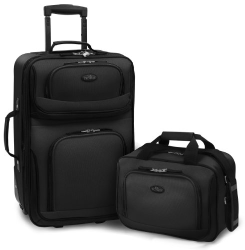 U.S. Traveler Rio Rugged Fabric Expandable Carry-On Luggage Set, Black, 2-Piece