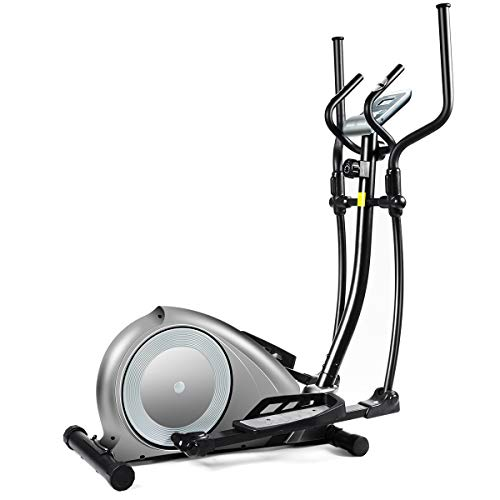 Goplus Elliptical Machine, Portable Magnetic Elliptical Trainer Cardio Fitness Workout Machine Smooth Quiet Driven with Digital Monitor Display and Pulse Rate Grips, for Home Office Gym (Gray)