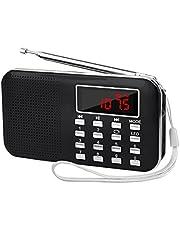 LEFON 充電式 多機能 AM FMポケットラジオ USB.microSDカード対応 MP3プレーヤー LEDライト ポータブルラジオ (黒い)