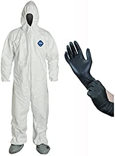 DuPont TY122S Disposable Elastic Wrist, Bootie & Hood White Tyvek Coverall Suit, Size: Large, with IPT Protective Gloves (InPrimeTime Exclusive)