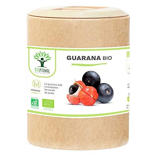 Guarana Bio - Bioptimal - Complément alimentaire - Brûle Graisse Minceur Énergie - 40mg de Caféine / jour - 250mg Poudre de Guarana Pur / Gélule - Fabriqué en France - Certifié Ecocert - 200 gélules