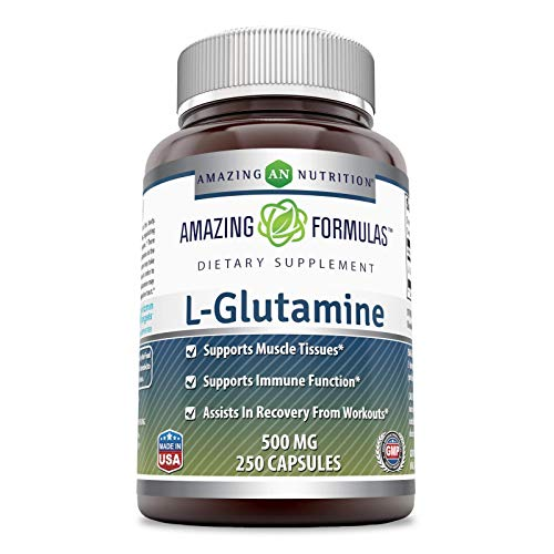 Amazing Formulas - L-Glutamine Dietary Supplement - 500 Milligrams - 250 Capsules(Non-GMO,Gluten Free) Promotes a Healthy Immune System - Supports Muscular System*