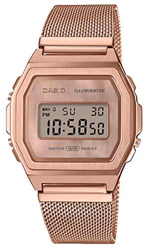 Casio A1000MPG-9VT Vintage Iconic Rose Gold Tone Mesh Band Alarm Chronograph Digital Watch