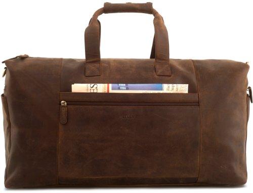 LEABAGS sehr große Reisetasche/Sporttasche/Weekender aus echtem Büffelleder 64x34x25cm - Vintage -