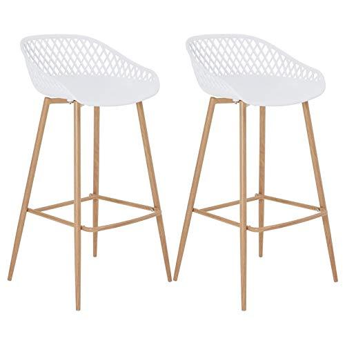 IDIMEX Lot de 2 tabourets de Bar IREK Chaise Haute pour Cuisine ou comptoir au Design Retro avec accoudoirs, en Plastique Blanc et métal décor Bois, Hauteur d'assise 75 cm
