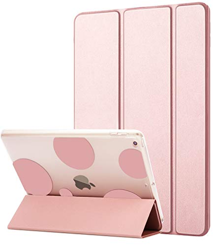 Dailylux New iPad 9.7 inch 2018/2017 Case,Slim Smart Folio Stand Transparent PC Back Shockproof TPU Bumper Edge Corner Protection Auto Wake Sleep Function Bubble Cover for iPad 9.7 inch-Rose Gold