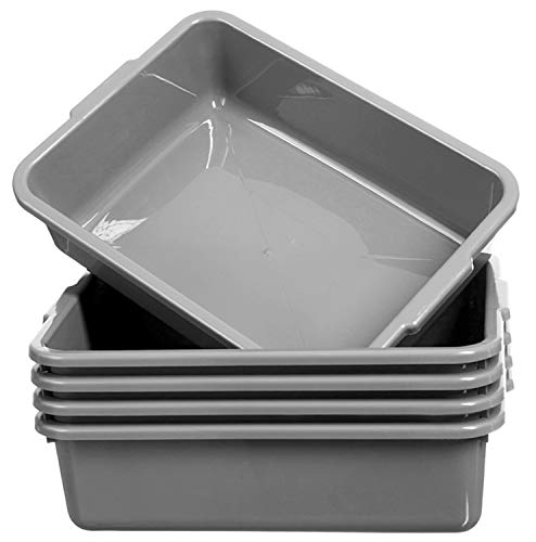 Grey Bus Tubs 8L Commercial Plastic Bus Box 5 Pack Utility Tote Bus Box Wash Basin Tub with Handle