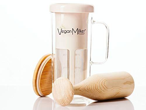 VEGAN MILKER Soul (di CHUFAMIX) per la produzione di latte vegetale a partire da qualsiasi seme. 1 litro in 1 minuto. Recipiente in vetro, coperchio di bambú, mortaio di legno. E-Book di Ricette (PDF)