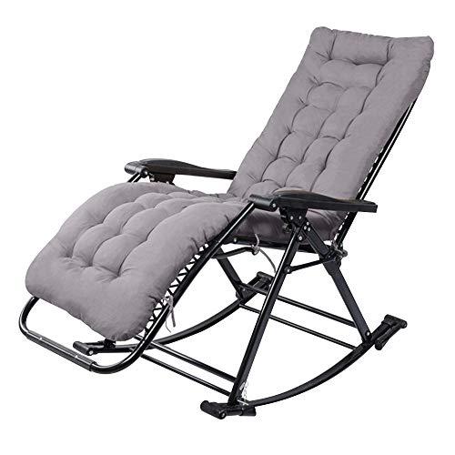 Fauteuil à bascule Chaise Happy Nap for personnes âgées Fit The Garden Body Curve Chaise de jardin pliante avec serrure crantée Chaise longue réglable multifonctions (Color : With cushion)