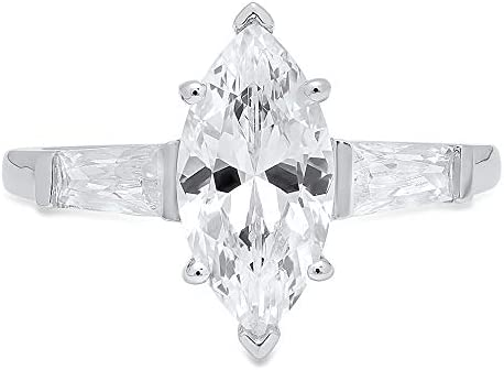 2ct Marquise Baguette cut 3 stone Solitaire Accent Genuine Lab Created White Sapphire Ideal product image