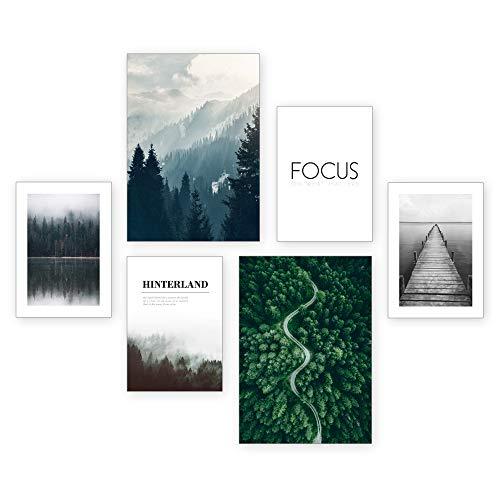 Poster-Set | Focus | 6 Bilder Deko Wohnzimmer Modern Schlafzimmer Bild für Ihre Wand - ohne Rahmen - 2 x DIN A3 & 4 x DIN A4 - ca. 30x40 & 20x30