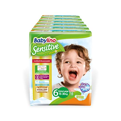 Babylino Sensitive Extra Large, Pannolini (15-30Kg), Taglia 6, 90 Unità