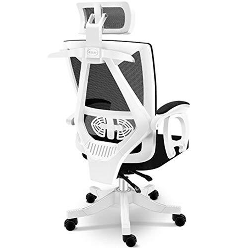 MIAO. Home Computer Chair Ergonomische Bürostuhl Rückenlehne Personal Spiel Spielstuhl Liegestuhl (Upgrade-Abschnitt, gewöhnliches Kissen),White Frame Black net